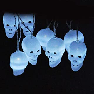 JOYIN Battery Operated 30 LEDs White/Rainbow Color Skulls String Light for Halloween Indoor and Outdoor Decoration (White)