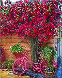 Pintar por numeros,Bonita bicicleta de flores, Pintura al óleo de DIY por Números para Adultos, Lienzo Regalo de Pintura para, Decoración del Hogar40X50 CM Sin Marco