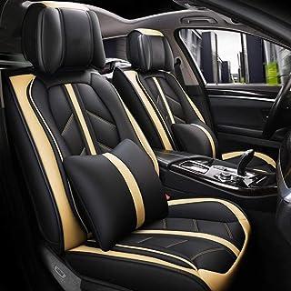 Cubierta de asiento de coche de 5 plazas de cuero universal completa Deportes con todo incluido resistente al desgaste del asiento de piel cubierta protege el asiento de coche original Plus reposacabe