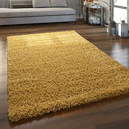 Paco Home Hochflor Teppich Wohnzimmer Shaggy Langflor Modern Einfarbig Ohne Muster, Grösse:160x220 cm, Farbe:Gelb