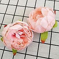 10ピースの高シミュレーションコア牡丹の花の頭の絹の花DIYの結婚式の花の壁の背景の装飾シルクローズ (Color : Champagne 02, Size : 10cm)