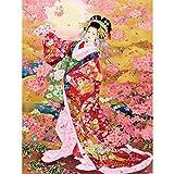 Kit de pintura de diamantes 5D,Flor de cerezo kimono mujer Diamante Pintura Kits...