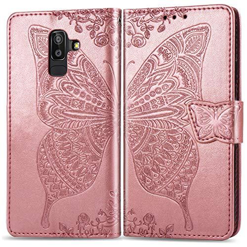 Hülle für Galaxy A6+ (A6 Plus) Hülle Handyhülle [Standfunktion] [Kartenfach] Tasche Flip Case Cover Etui Schutzhülle lederhülle klapphülle für Samsung Galaxy A6+ 2018 - DESD020102 Rosa Gold
