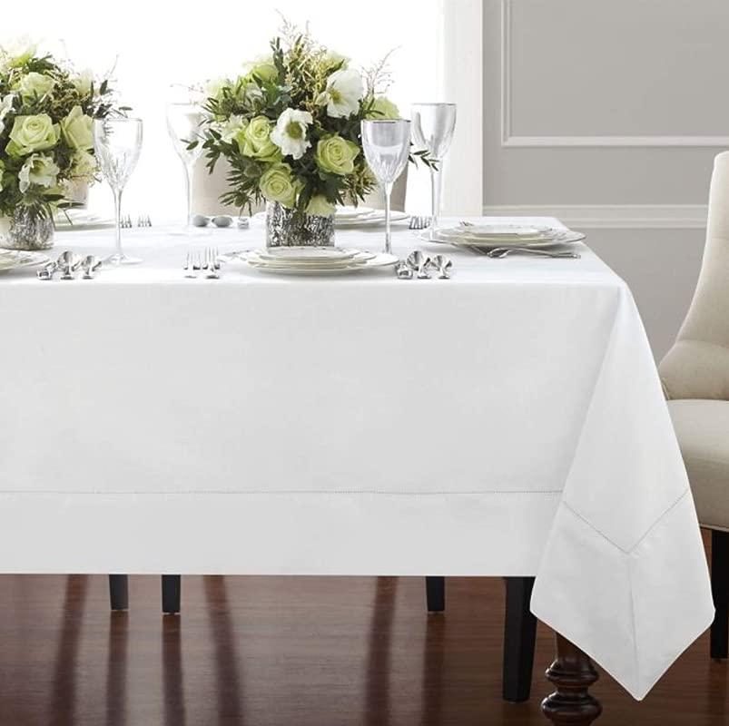 Wamsutta Bordered Linen 90 Inch Square Tablecloth In White