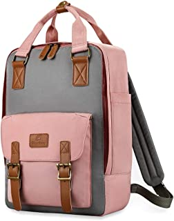 "Plambag 15.6"" Laptop Travel Backpack, Water-Repellent Casual College School Daypack(Pink w/Gray)"