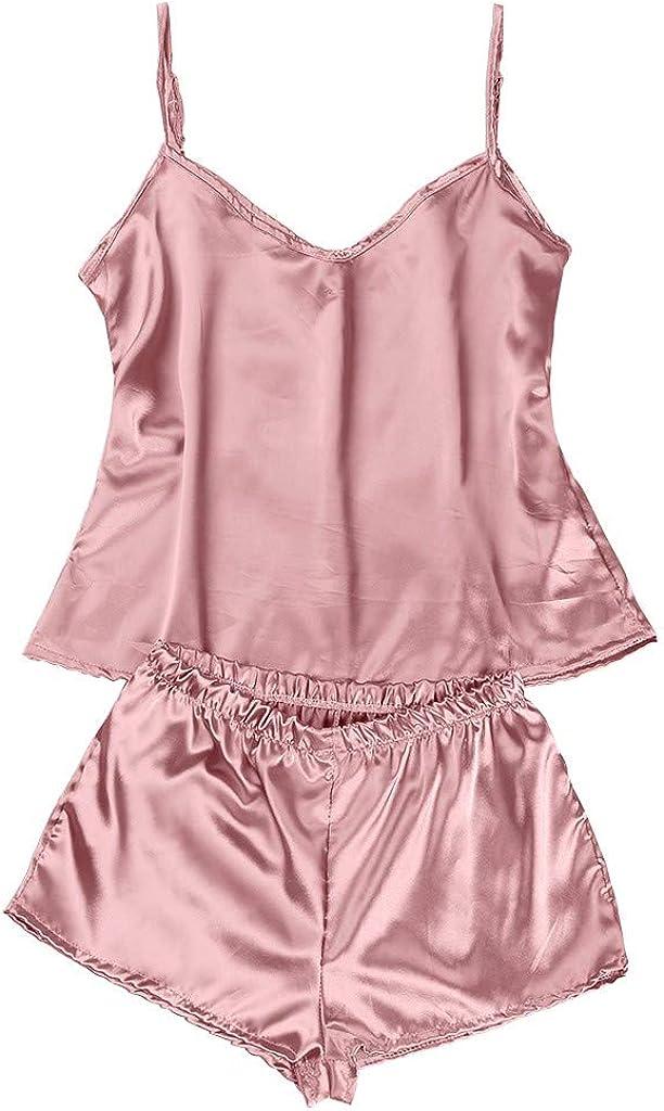 Gergeos Silk Pajamas Sexy Satin Camisole Shorts Set Lingerie Women Sleepwear
