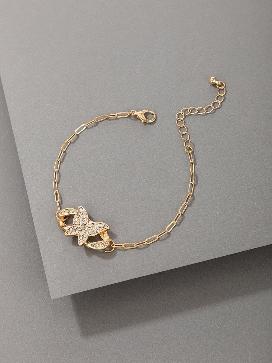 Shower set Charm Bracelets Rhinestone Butterfly Decor Bracelet (Color : Gold)