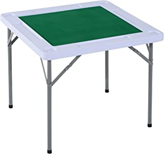 HOMCOM 3'x3' 4-Player Mahjong Game Portable Folding Table for Poker Dominoes Card with Cup and Coin Holders