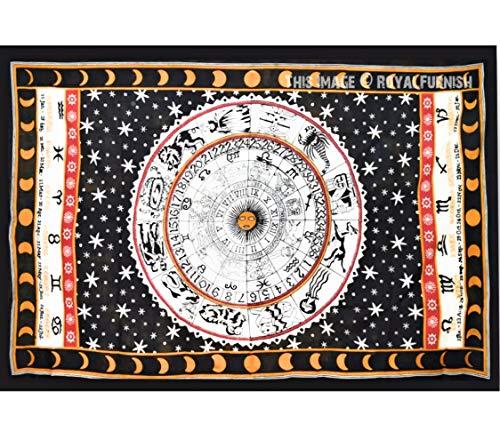 UrbanCharm-zodiac Tapisserie, Astrologie, indisch, schwarz & weiß, indischer Hippie-Wandbehang/Schlafsaal, Trennwand, Picknickdecke, Stranddecke, Tischdecke