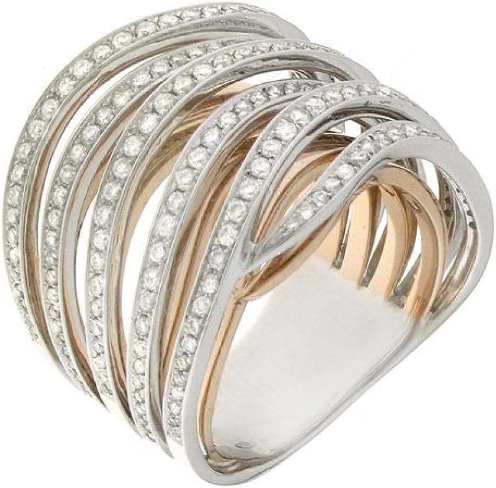 Chimento,anello a fascia per donna ,in oro bianco e oro rosa 18 kt(16,8 gr)con inserti di diamante 1,09 ct 1A08720BB7160