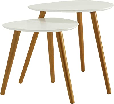 Convenience Concepts Oslo Nesting End Tables, White / Natural