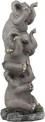 "Ebros Pachyderm Friends Funny See Hear Speak No Evil Elephants Totem Statue 10.5""Tall Jungle Safari Wildlife Acrobatic Elephants Figurine Decor Sculpture"