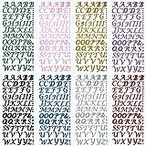 8 Hojas de Pegatinas de Letras Colores Pegatinas de Alfabeto de Brillo Pegatinas Autoadhesivas de Alfabeto de Purpurina para Decoración de Casquillo de Gradiente y DIY Artesanías, 8 Colores