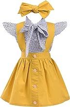 Toddler Baby Girls Ruffles Dots Bowknot Shirt+Overall Skirt+Headband Outfits Set School Uniform