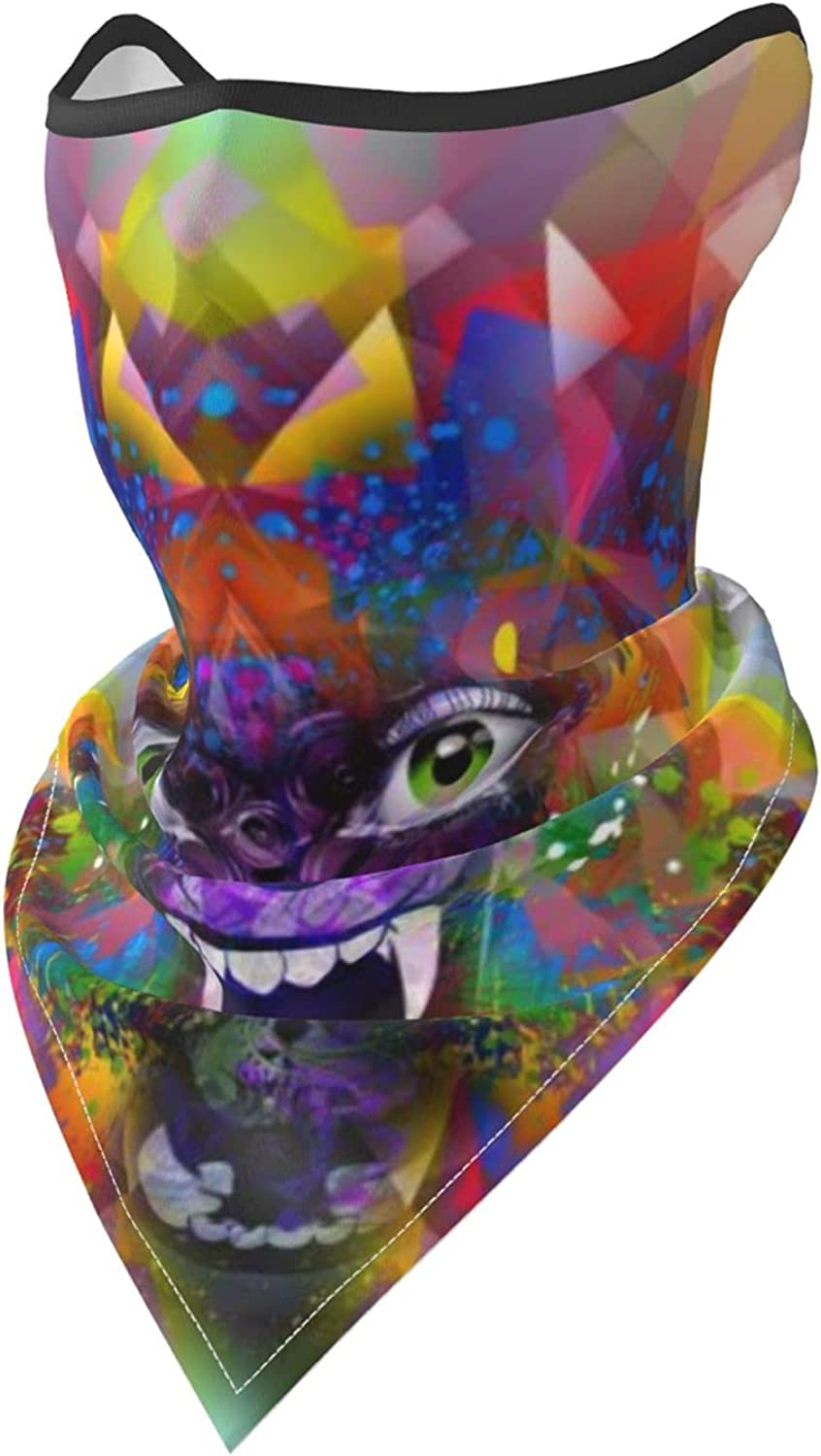 Wolf Howling Animal Face Colorful-2 Breathable Bandana Face Mask Neck Gaiter Windproof Sports Mask Scarf Headwear for Men Women Outdoor Hiking Cycling Running Motorcycling