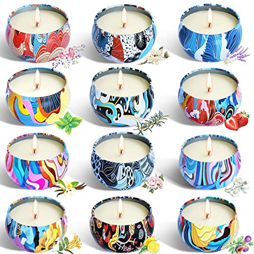 YYCH Gift Package Scented Candles Lemon, Fig, Lavender, Spring Fresh,Rose ,Jasmine,Vanilla,Bergamot,Strawberry, Peppermint, Rosemary, Gardenia Natural Soy Wax Portable Travel Tin Candle,Set of 12