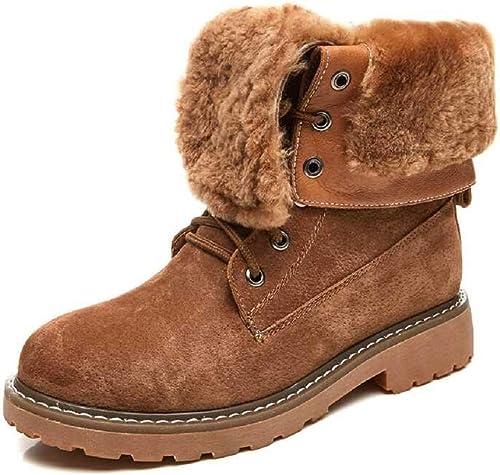 Gaslinyuan Bottes doublées en Fourrure, Chaussures en Cuir à Lacets pour Femmes (Couleuré   Marron, Taille   EU 39)