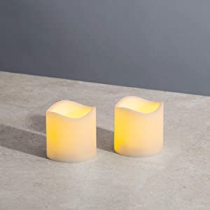 Outdoor Flameless Candles 3x3 - Battery Operated, Waterproof, Flickering LED Flame, Remote Control with Timer, Decorative Small Pillar Candles for Halloween or Outdoor Decor - Set of 2