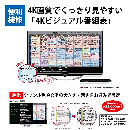 『シャープ AQUOS ブルーレイレコーダー 3TB 3チューナー Ultra HDブルーレイ対応 4K対応 BD-UT3200』の2枚目の画像