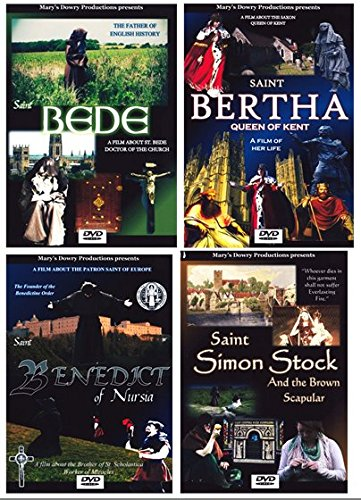 Saint Bede, Saint Benedict of Nursia, Saint Bertha: Queen of Kent, Saint Simon Stock and the Brown Scapular, 4 DVD Films, 4 DVD Features set, Saint, St. Bede, Father of English History, Founders, Brown Scapular, An Ecclesiastical History of the English People, St. Wilfrid, St. Etheldreda, St. John of Beverly, Catholic, Christian, DVD, Faint and Spirituality