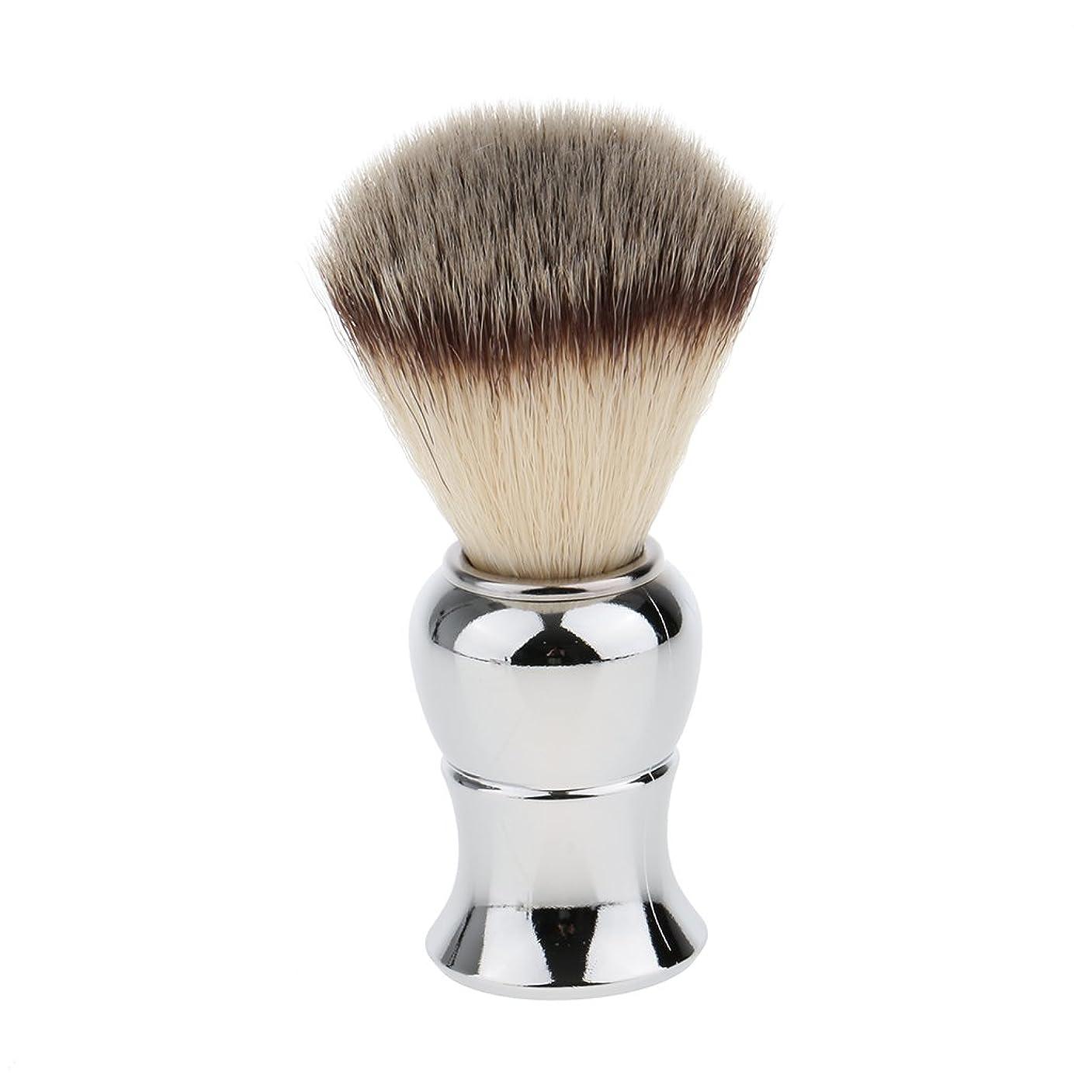 クライアントラフ似ているKesoto メンズ シェービングブラシ ソフト ナイロン 合金ハンドル シェービング ブラシ サロン 髭剃りツール