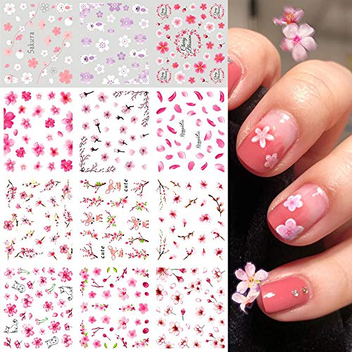 Flowers Spring Nail Water Stickers Decals Foil Tattoo Nail Art Supplies Sakura Pink Cherry Peach Blossoms Flowers Leaf Tree Summer Charms Design for Manicure Nail Art Watermark Decorations 12 PCS