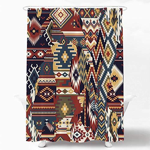 Shrahala Indianer Dekorativer Duschvorhang, Indianer Navajo Tribal Design Druck Duschvorhang für Duschkabine Badezimmer Wasserdicht Lustig Duschvorhang mit Ösen 183 x 183 cm