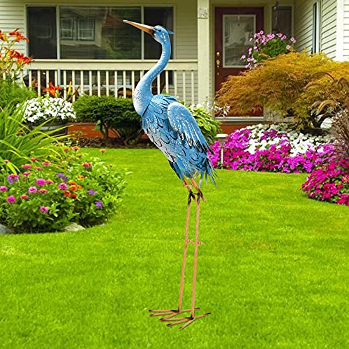 Nacome Large Standing Blue Metal Crane Garden Statue- Indoor/Outdoor Heron Garden Animal Sculpture...