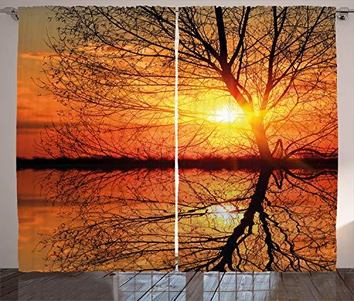 ABAKUHAUS Otoño Cortinas, Ver la Puesta de Sol con los árboles, Sala de Estar Dormitorio Cortinas Ventana Set de Dos Paños, 280 x 245 cm, Naranja Negro
