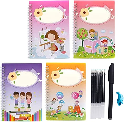 4pcs//Set Kindergarte Practice Workbook Grooves Post 4book and 1set Pen Calligraphic Letter Writing for Beginner Magic Calligraphy That can be reused Handwriting Copybook Set for Kid