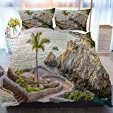 BEIVIVI 3 Piece Duvet Cover Set, Home Comforter Set,La Quebrada (The Famous Divers' Cliff) of Acapulco, Mexico,Soft Bedding Duvet Cover 3 Piece Set for Any Bed Room Or Guest Room,Twin Size