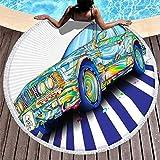 Manta de playa de gran tamaño para coche de colores, esterilla de yoga de meditación redonda con bordes, resistente a la decoloración, adecuada para playa y piscina, uso circular mochila de 149 cm con