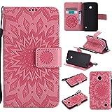 pinlu® PU Leder Tasche Etui Schutzhülle für Nokia Lumia 630 635 Lederhülle Schale Flip Cover Tasche mit Standfunktion Sonnenblume Muster Hülle (Rosa)