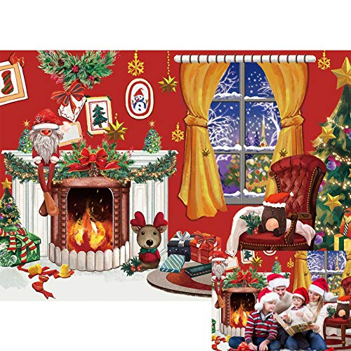 Allenjoy 7x5ft Merry Christmas Backdrop Interior Room Winter Fireplace Green Pine Xmas Tree Photography Background for Kids Newborn Baby Shower Birthday Party Decor Banner Portrait Photo Booth Props