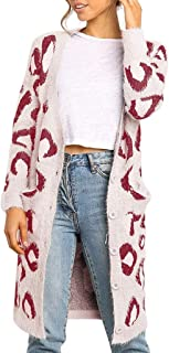 LEKODE Women's Cardigan Printed Long Sleeve Knit Plus Size Sweater