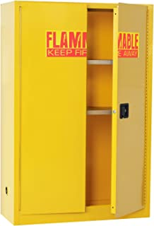 Sandusky Lee SC450F Yellow Steel Safety Cabinet for Flammable Liquids, 2 Shelves, 2 Door Manual Close, 45 Gallon Capacity, 65