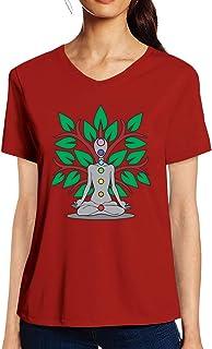 Pooplu Womens Seven Colours of Yoga Cotton Printed V Neck Half Sleeves Multicolour Tshirt. Exercise & Gym t Shirt