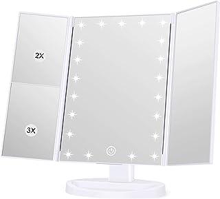 مرآة فانيتي بإضاءة ليد 21 من شركة إنلايف لمستحضرات التجميل، تكبير 1 × 2 × 3 مرات، مفتاح شاشة تعمل باللمس، تدور بزاوية 180 ...