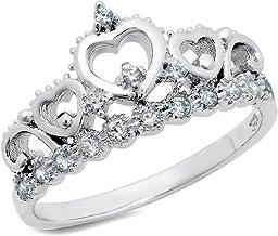 Metal Factory 925 Sterling Silver Cubic Zirconia Princess Heart Crown Tiara CZ Band Ring