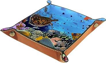 KAMEARI Skórzana taca podwodny żółw morski ryby koralowe klucz telefon pudełko na monety skóra bydlęca taca na monety prak...
