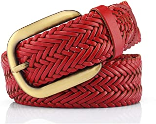 Women's Vintage Leather Braided Belt With Alloy Pin Buckle Jeans Shorts Pants Summer Dress