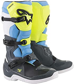 Alpinestars Tech-3 Boots (10) (COOL GREY/FLO YELLOW/CYAN)