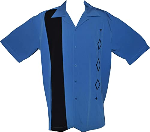 Designs by Attila Mens Retro Bowling Shirt, Big & Tall Sizes. Alaska Blue
