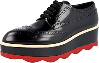 Prada Women's 1E935G 85M F022C Full Brogue Leather Lace-up Shoes