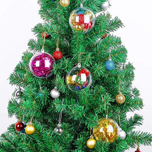 LIOOBO Palline Trasparenti plastica Natale 4cm Sfere apribili Decorazioni addobbi Albero di Natale 20 Pezzi 4cm