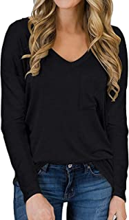 Long Sleeve Shirts for Women Fall Basic Tops Casual Loose Fit Tee with Front Pocket