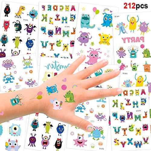 HOWAF Tattoo Kinder, 212 Monsters Tattoo Set, Monster Temporäre Tattoos Kindertattoo Aufkleber für Jungen Mädchen Kindergeburtstag Mitgebsel Gastgeschenke Kinder Spielen