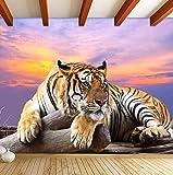 Mznm Personnalisé Photo Papier Peint Tigre Animal Fonds D'Écran 3D Grande Murale Chambre Salon Canapé Tv Toile De Fond 3D Murales Papier Peint Rouleau-200X140Cm