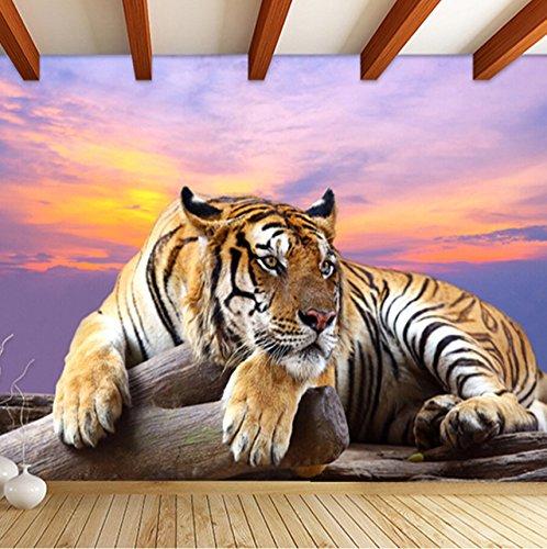 Mznm Personnalisé Photo Papier Peint Tigre Animal Fonds D'Écran 3D Grande Murale Chambre Salon Canapé Tv Toile De Fond 3D Murales Papier Peint Rouleau-280X200Cm