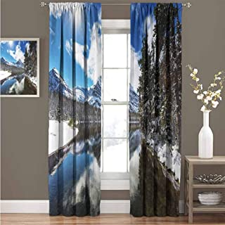 GUUVOR Winter 99% Blackout Curtains Tranquil View of Glacier National Park in Montana Water Reflection Quiet Peaceful for Bedroom Kindergarten Living Room Curtain 52